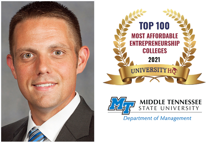 Dr. Joshua Aaron leads MTSU's Business Innovation and Entrepreneurship Program as holder of the Pam Wright Chair in Entrepreneurship. (MTSU file photo)