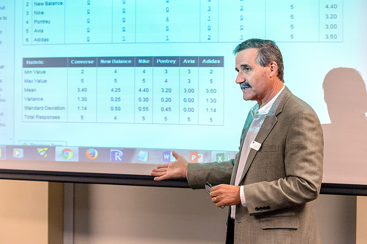 MTSU marketing professor Timothy Graeff makes a point while teaching the Jones College of Business Executive Education Online Marketing Research Workshop at the Rutherford County Chamber of Commerce in this October 2015 file photo. Graeff, who also is the founder of MTSU's Office of Consumer Research, received the university's top teaching honor, the MTSU Foundation Career Achievement Award, Aug. 19 during the 2021 Fall Faculty Meeting. (MTSU file photo by Andy Heidt)