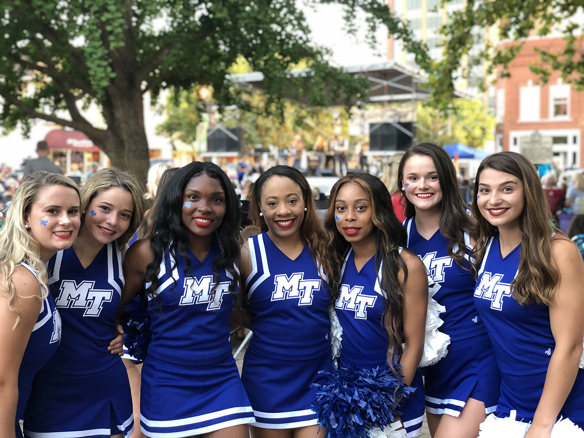 MTSU cheerleaders will be on hand to lead a series of cheers Friday, Sept. 3, as part of the final concert of the year for the free Friday Night Live concert series held on the courtsquare in Murfreesboro, Tenn. MTSU is a co-sponsor of Friday's concert. (Photo courtesy of Main Street Murfreesboro)