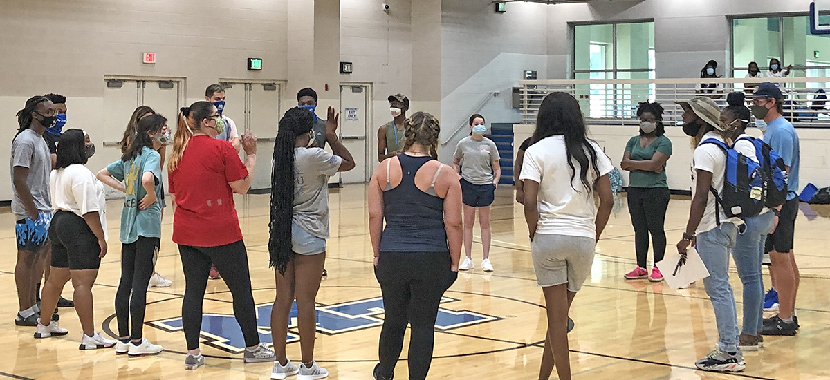 Students participating in this year's MTSU STAR Conference participate in a team-building exercise in a Campus Recreation Center gym in the Health, Wellness and Recreation Center. Nearly 160 freshmen learned how to better adapt socially and academically during the two-week program. (Submitted photo)