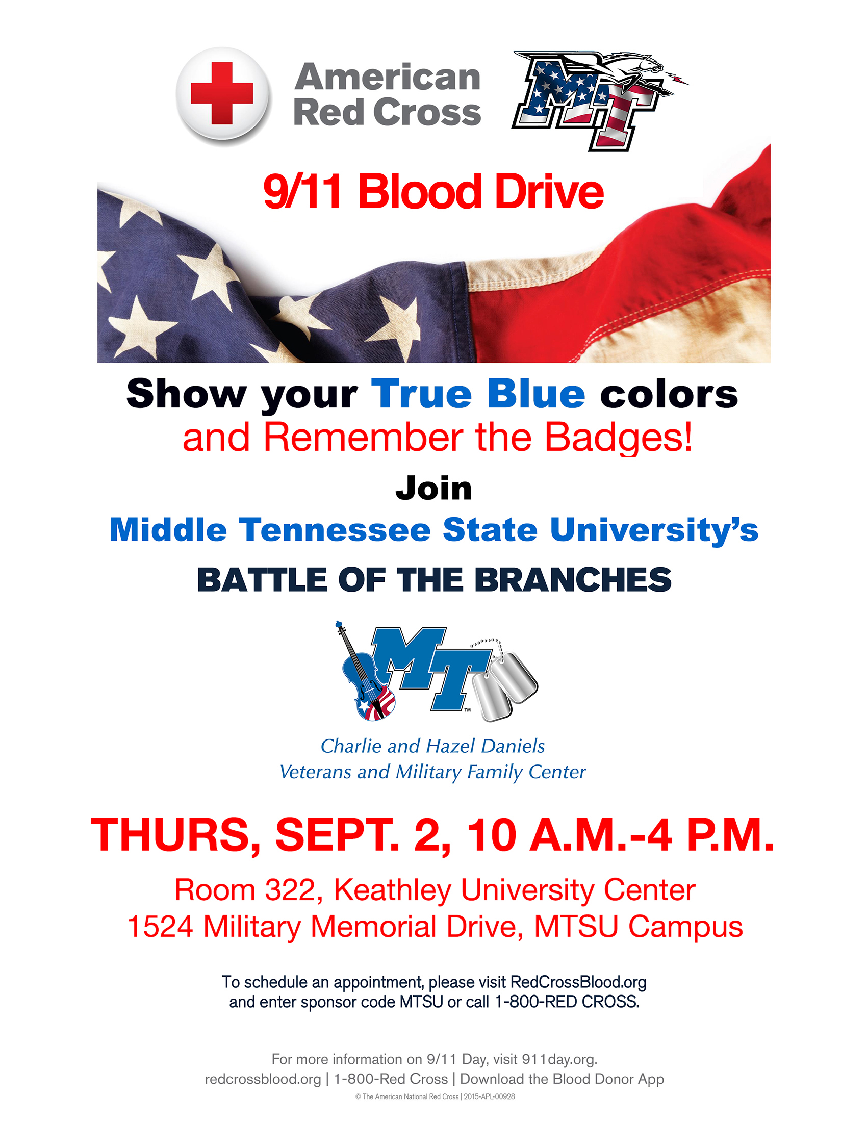 """MTSU """"Battle of the Branches"""" 2021 blood drive poster with details on the Sept. 2 blood drive in Room 322 of the Keathley University Center"""