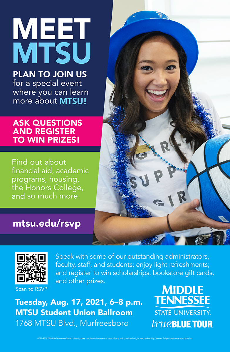 MTSU True Blue Tour graphic for Aug. 17 recruiting event in Student Union Ballroom