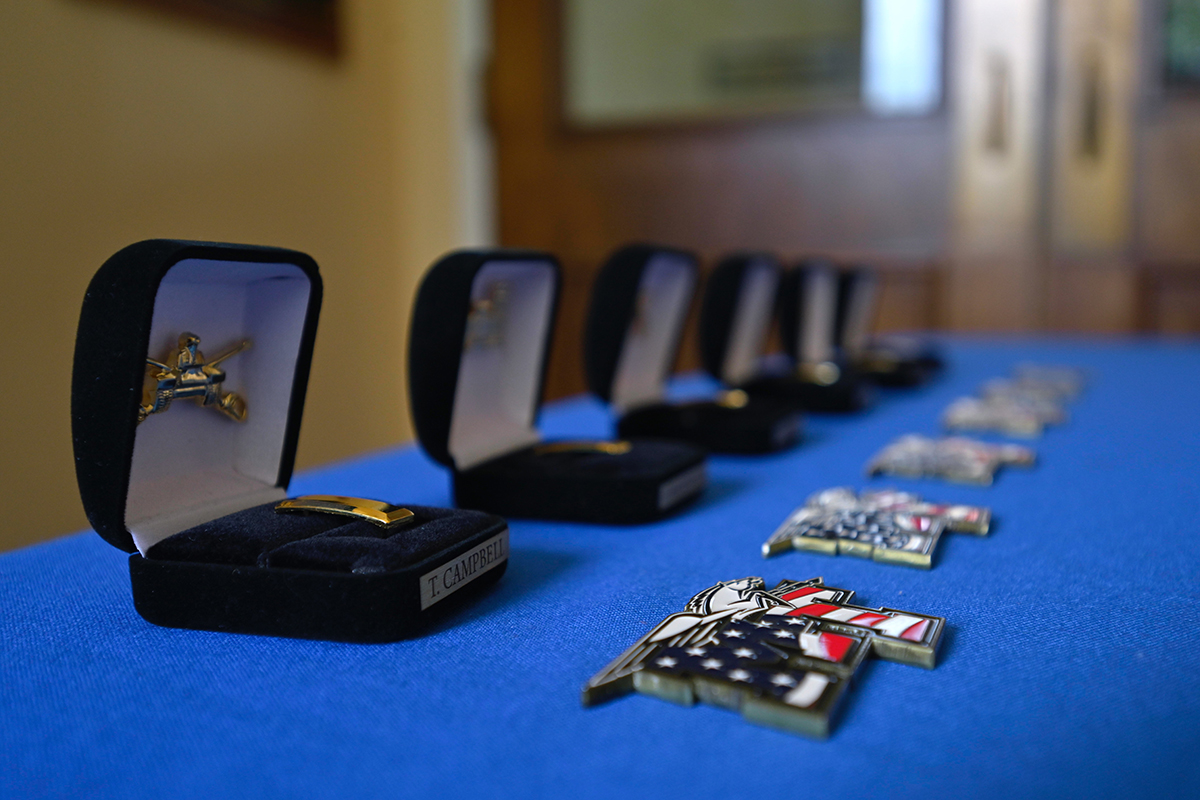 U.S. Army second lieutenant bars that later would be pinned on newly commissioned officers by family members sit on a table inside the Tom H. Jackson Building. MTSU's military science department recently held a its summer commissioning ceremony at the MTSU Veterans Memorial. (MTSU photo by Cat Curtis Murphy)