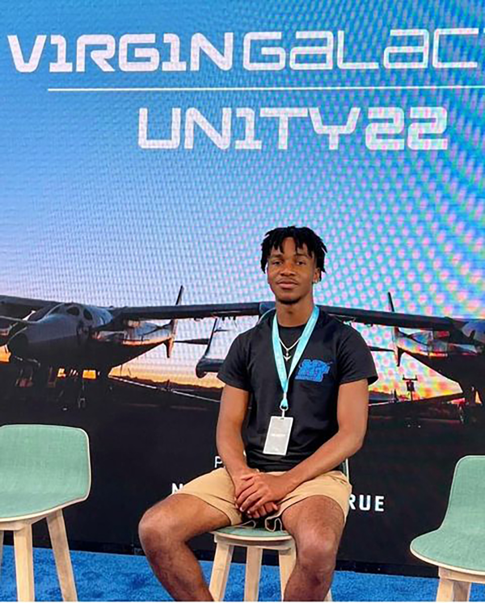 A summer internship with Virgin Galactic has kept MTSU junior aerospace pro pilot major Mike Harris of Americus, Ga., busy. He attended the launch of the rocket during one four-day visit and will spend one more week there. (Submitted photo)