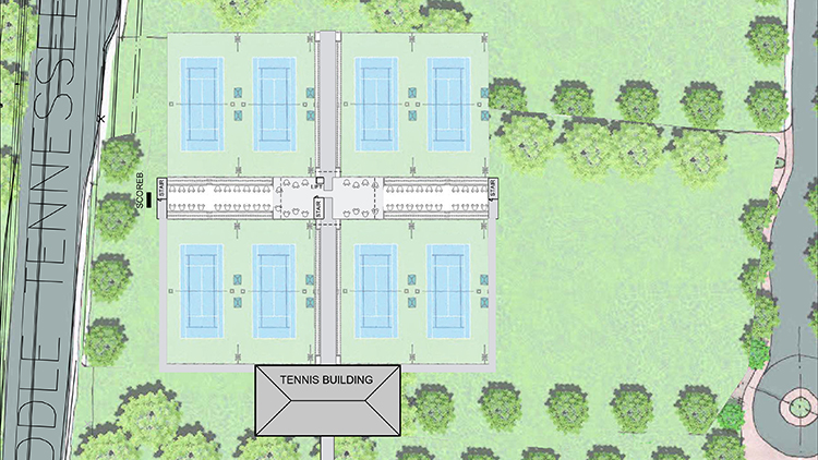 This architectural drawing shows plans for a new $4.8 million outdoor tennis complex for the MTSU campus recently approved by the Tennessee State Building Commission. The project, funded by gifts from former players, the local tennis community and funds set aside from the Middle Tennessee Boulevard road improvement project, should be ready by 2023. (Courtesy of MTSU Athletics)
