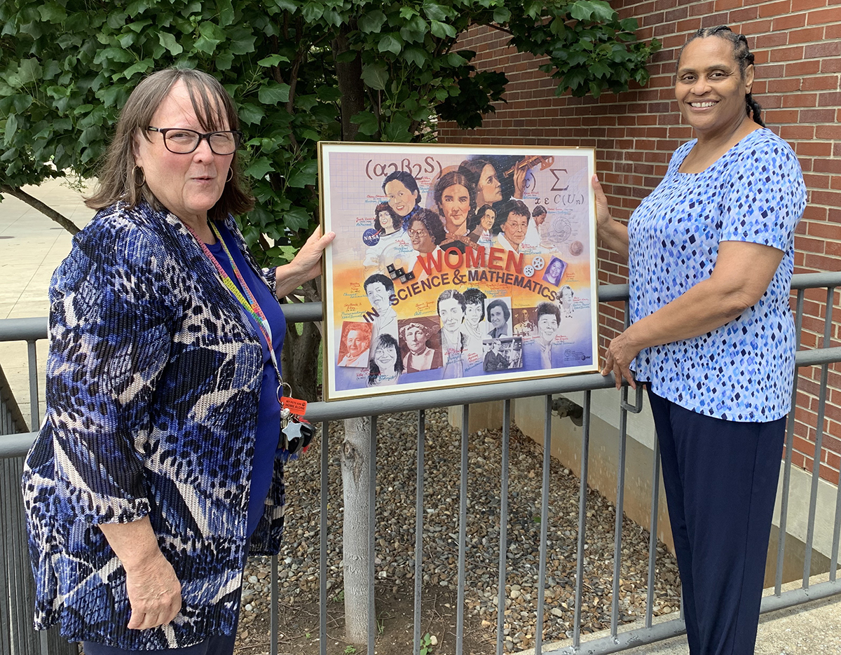MTSU chemistry professor and WISTEM Center Director Judith Iriarte-Gross, left, and College of Behavioral and Health Sciences Associate Dean Barbara Turnage promote women in STEM at the university. Turnage nominated the center for a 2021 Inspiring Programs in STEM Award from INSIGHT Into Diversity magazine. The publication announced Monday, Aug. 16, the center would be one of nearly 80 programs recognized nationally. (MTSU photo by Randy Weiler)