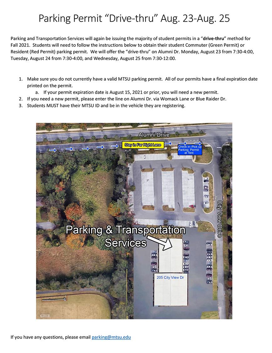 fall 2021 drive-thru parking permit PDF