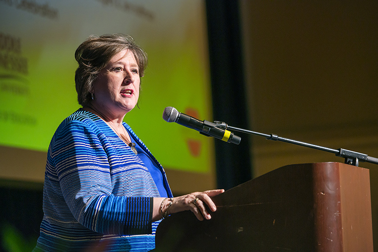 Lana Seivers, Middle Tennessee State University dean emerita of the College of Education, speaks at the College of Education's annual Admission to Teacher Education induction ceremony at the college on Sept. 25, 2019. (MTSU file photo by Cat Curtis Murphy)