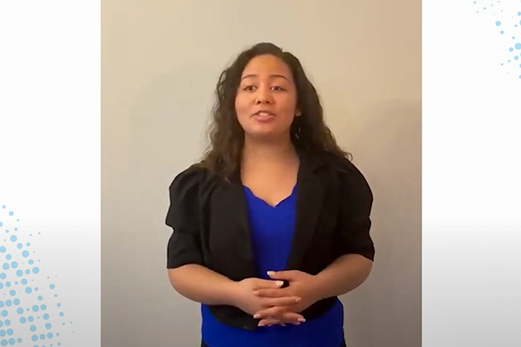 Sierra Cruz, Middle Tennessee State University pre-med student, completed a three-step process to apply for the BlueCross BlueShield Power of We scholarship, including a video submission pictured here. Cruz learned she was one of six recipients from across the state to earn the scholarship in August 2021. (Screen capture from BlueCross BlueShield video)