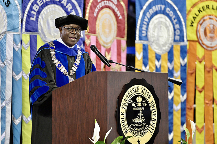 MTSU President Sidney A. McPhee speaks to the August Class of 2021 inside Murphy Center Saturday, Aug. 7, at the university's summer 2021 commencement ceremony. MTSU presented degrees to 825 new graduates at the event. (MTSU photo by Andy Heidt)