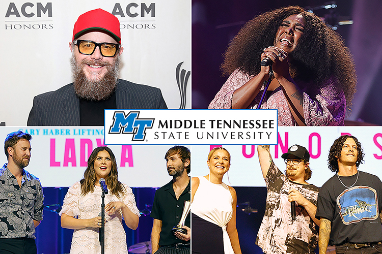 Hard-working College of Media and Entertainment alumni and former students rocked the Ryman and represented Middle Tennessee State University while receiving their own recognition and paying tribute to others at the Aug. 25 ACM Honors ceremony in the hallowed music hall. Clockwise from upper left are Department of Recording Industry alumnus F. Reid Shippen, shown in this August 2019 photo with his first Academy of Country Music audio engineer of the year award, who also is the winner of the organization's 2021 top engineering award; School of Journalism and Strategic Media alumna Brittney Spencer; commercial songwriting grad Hardy, center right, with