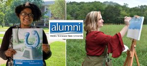 MTSU Alumni Association gifts alumni employees original horseshoe print from alumna artist