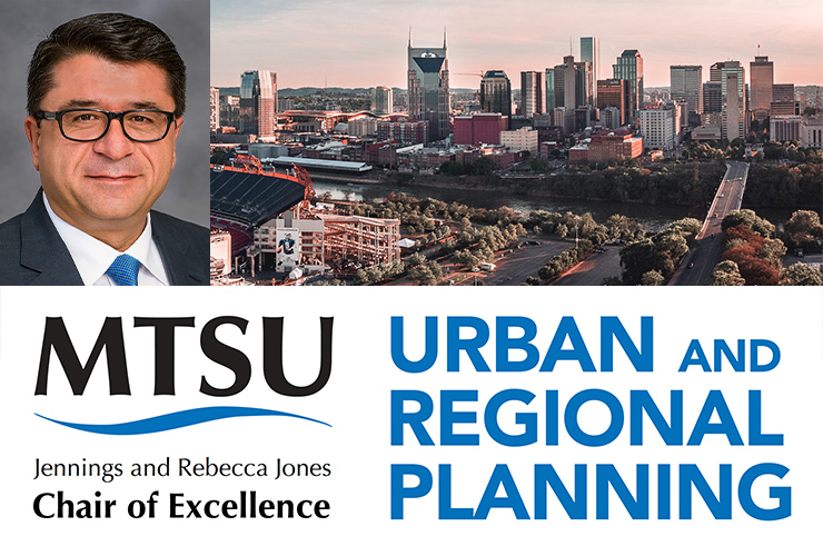 Dr. Murat Arik, management professor, was recently appointed as the new Jennings and Rebecca Jones Chair of Excellence in Urban and Regional Planning. (MTSU photo of Arik; Nashville skyline photo by Tanner Boriack on Unsplash)