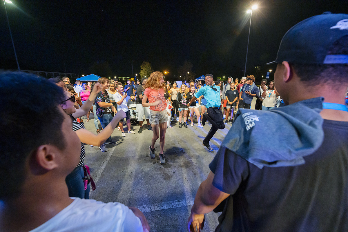 MTSU students will gather at 7 p.m. Friday, Oct. 1, in the Campus Recreation Center parking lot for the newly renamed Blue Zoo Bash — a pep rally featuring cheerleaders, MTSU pep band and dance team members on the eve of the MTSU-Marshall University football game. Dancers entertain the crowd during the 2019 Bash the Rec. (MTSU file photo by Cat Curtis Murphy)