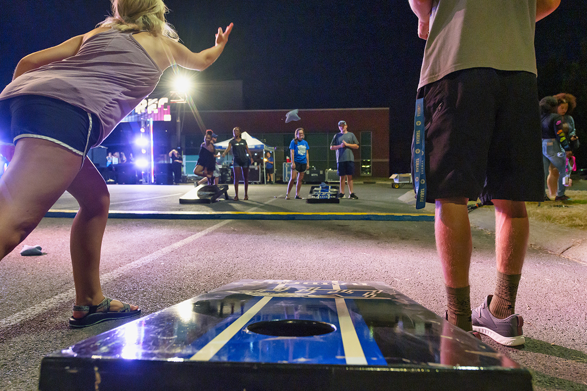 MTSU students play Cornhole, a bean bag tossing game, during the 2019 Bash the Rec event in the Campus Recreation Center parking lot. Hundreds of students will gather for the 7 p.m. Friday, Oct. 1, Blue Zoo Bash — a pep rally featuring cheerleaders, MTSU pep band members and more fun and games. (MTSU file photo by Cat Curtis Murphy)