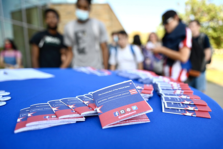 Copies of the U.S. Constitution provided by the American Democracy Project at MTSU were available to students who read sections of the founding American document Sept. 14-16 in celebration of Constitution Week on campus. (MTSU photo by J. Intintoli).