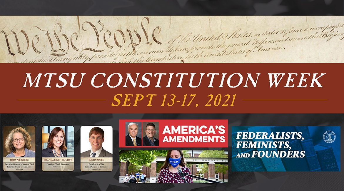 graphic that includes image from the U.S. Constitution preamble (