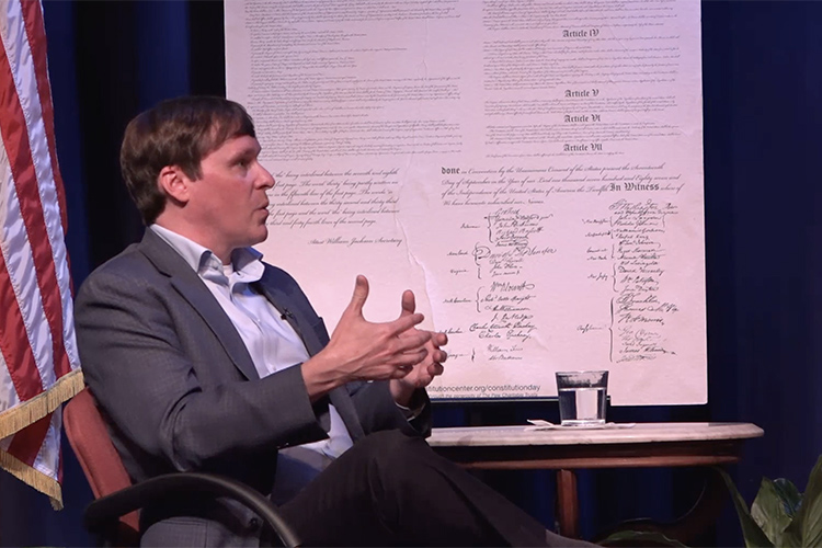 """Justin Owen, Beacon Center of Tennessee president and CEO as well as an MTSU alumnus, was one of three panelists for """"State Legislatures Shaping the Nation: Tennessee Law and National Civic Culture,"""" a panel discussion conducted Monday, Sept. 13, before an in-person and livestream audience from Tucker Theatre. (MTSU Livestream screen grab)"""