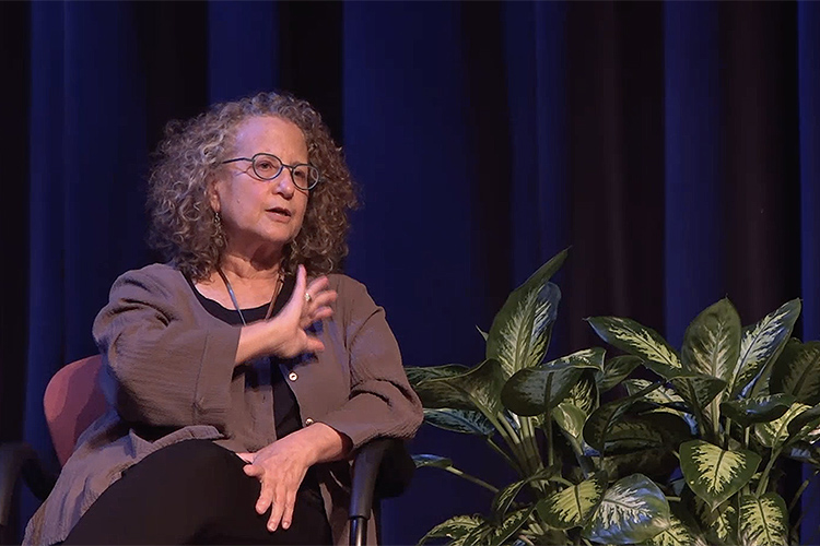 """American Civil Liberties Union of Tennessee Executive Director Hedy Weinberg was one of three panelists for """"State Legislatures Shaping the Nation: Tennessee Law and National Civic Culture,"""" a panel discussion conducted Monday, Sept. 13, before an in-person and livestream audience from Tucker Theatre. (MTSU Livestream screen grab)"""