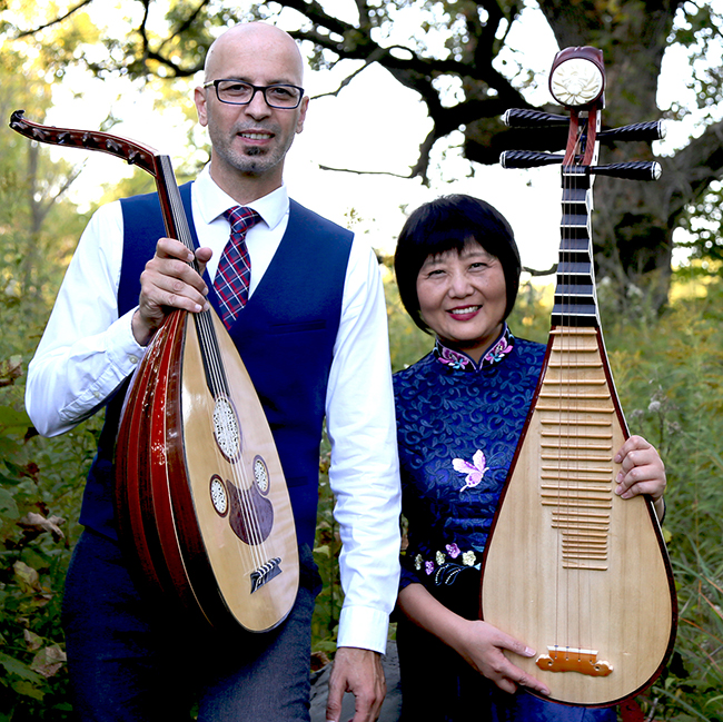 Syrian oud player Issam Rafea, left, and Chinese pipa player Gao Hong (Photo submitted)