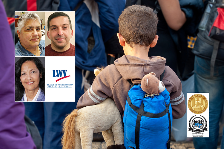 """photos of participants in a Sept. 20 panel discussion on immigration laws and local effects are superimposed on a September 2015 file image of a young Syrian refugee carrying his stuffed pony in a crowd of other refugees in Germany. Clockwise from upper left are panelists Kellye Branson, an MTSU alumna and director of refugee and immigration services for Catholic Charities of Nashville, and Abdou Kattih, founder of Murfreesboro Muslim Youth and a longtime community service organizer; the logo for the sponsoring League of Women Voters of Murfreesboro and Rutherford County; and panel moderator Barbara """"Bobbie"""" Ibarra of the League of Women Voters. The logos for the MTSU University Honors Program and MT Engage program are superimposed at lower right. (file image Lydia Geissler/Adobe Stock)"""