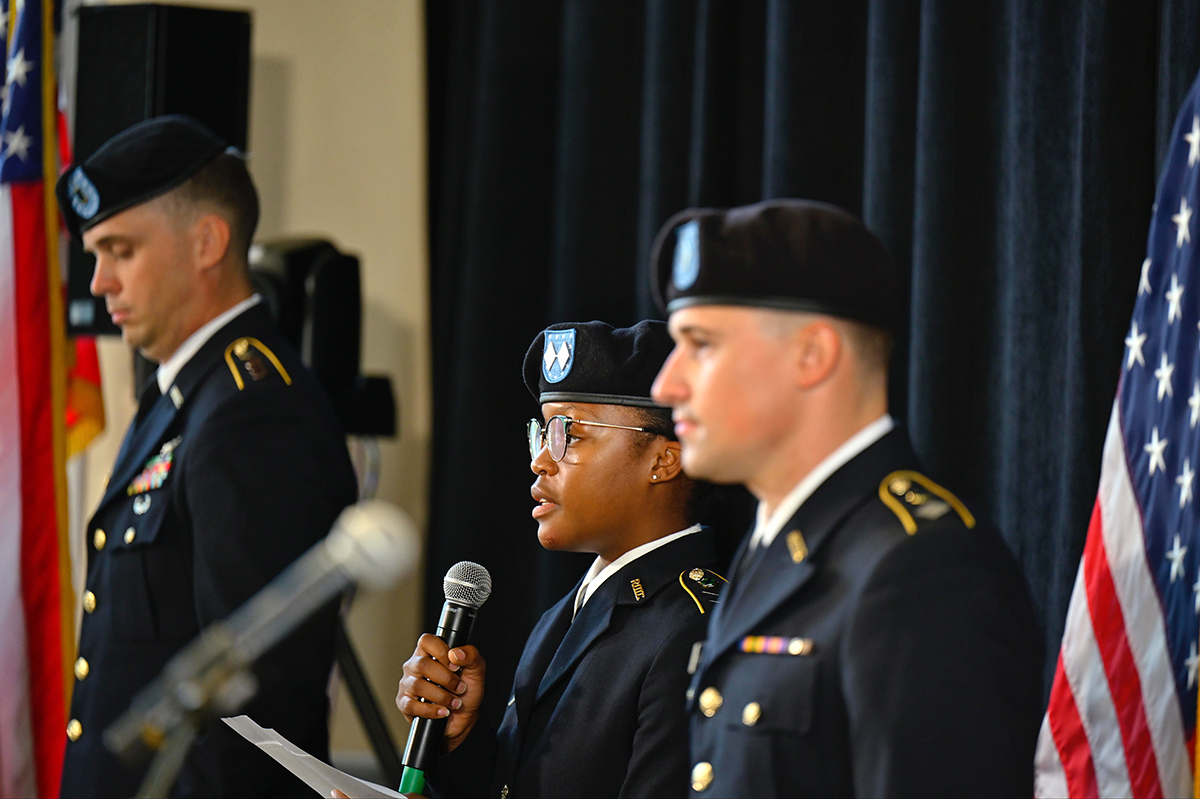 MTSU senior ROTC cadets Porter Mitchell, left, Alexis Anderson and Caleb Watts read the timeline of Sept. 11, 2001, events and shared reflections on what that day meant to them Saturday, Sept. 11, in the Tom H. Jackson Building's Cantrell Hall on campus. The university's Daniels Veterans Center hosted the seventh annual 9/11 Remembrance. (MTSU photo by Cat Curtis Murphy)