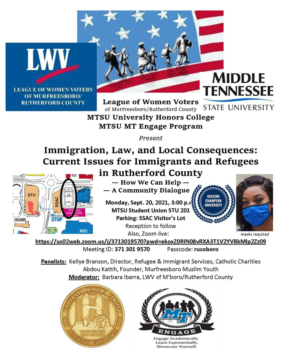 """flyer for """"Immigration, Law and Local Consequences: Current Issues for Immigrants and Refugees in Rutherford County"""" panel discussion set Monday, Sept. 20, at 3 p.m. Central in Room 201 of MTSU's Student Union and online via Zoom."""