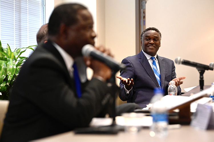 MTSU Trustee Darrell Freeman, right, asks Board of Trustees Chairman Steve Smith a question as President Sidney A. McPhee, foreground, listens during the board's quarterly meeting held Tuesday, Sept. 14, 2021, inside the Miller Education Center on Bell Street. (MTSU photo by J. Intintoli)