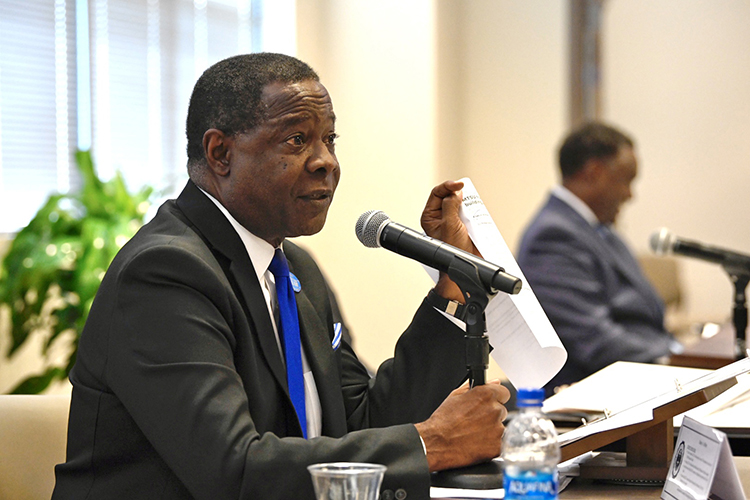 MTSU President Sidney A. McPhee gives his report during the board's quarterly meeting held Tuesday, Sept. 14, 2021, inside the Miller Education Center on Bell Street. (MTSU photo by J. Intintoli)