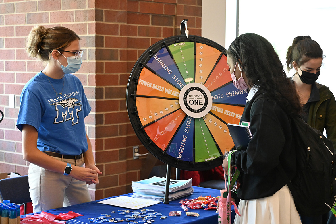 MTSU's Power of One bystander intervention program through the June Anderson Center for Women and Nontraditional Students was among the organizations and programs participating in the Mental Wellness and Suicide Prevention Fair held Wednesday, Sept. 22, in the Student Union atrium. Information and resources were available for suicide prevention, stress relief, and coping strategies, with activities including rock painting, Mental Health Jeopardy, make-your-own stress ball, meditation booth and more. (MTSU photo by Leah Chollman)