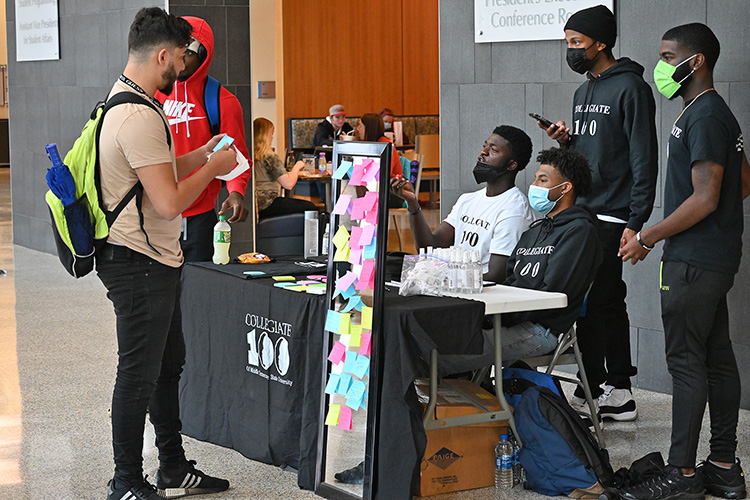 The MTSU Collegiate 100 student group was among the organizations participating in the Mental Wellness and Suicide Prevention Fair held Wednesday, Sept. 22, in the Student Union atrium. Information and resources were available for suicide prevention, stress relief, and coping strategies, with activities including rock painting, Mental Health Jeopardy, make-your-own stress ball, meditation booth and more. (MTSU photo by Leah Chollman)