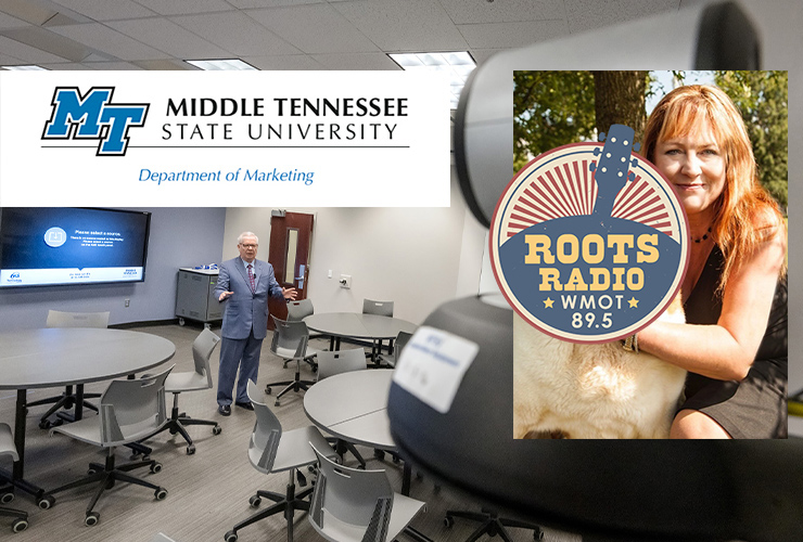 """Dr. Melodie Phillips, top right, an associate professor of marketing in the Jones College of Business, is the latest guest on the """"MTSU On the Record"""" radio program on WMOT-FM Roots Radio 89.5. (Submitted photo of Phillips; background file photo by J. Intintoli)"""