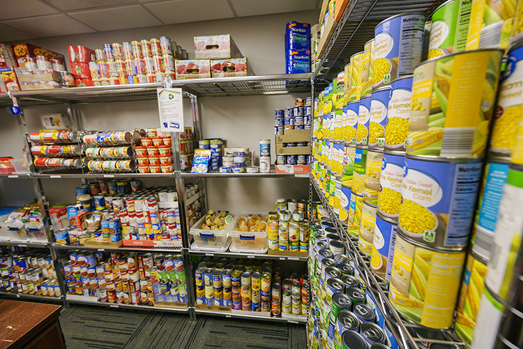 The shelves are well-stocked at the MTSU Student Food Pantry in the MT One Stop on the MTSU campus. (MTSU photo by Andy Heidt)