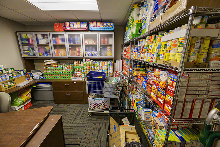 Even with the overflow of donated items in the MTSU Student Food Pantry, there remains a bit of room for more foodstuffs. (MTSU photo by Andy Heidt)