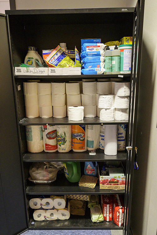 In addition to foodstuffs, the MTSU Student Food Pantry carries a variety of hygiene items, including bathroom tissue, cleaning substances and feminine products. (MTSU photo by Andy Heidt)
