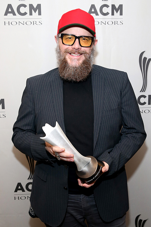 MTSU Department of Recording Industry alumnus F. Reid Shippen, shown in this August 2019 photo with his first Academy of Country Music audio engineer of the year award, also is the winner of the organization's 2021 top engineering award. Shippen did not attend the Aug. 25 ceremony for the 2021 ACM Honors at the Ryman Auditorium in Nashville; the show will be broadcast on Circle TV on Tuesday, Nov. 23, at 7 p.m. Central with an encore presentation at 11 p.m. Central. (photo by Terry Wyatt/Getty Images for Academy of Country Music)