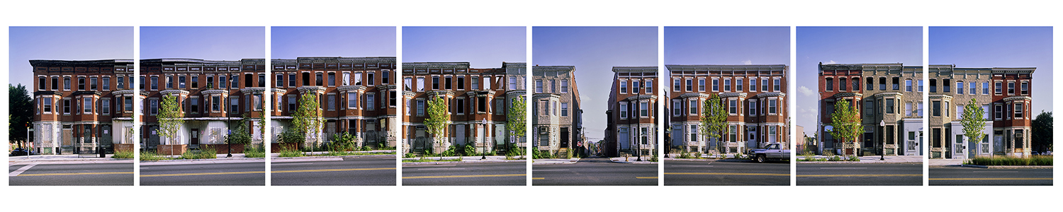 """This 2013 series of image of the historic three-story brick buildings in the 1100 block of West Baltimore Street in Baltimore, Md., showing both the decline and the gentrification of the area, is part of photographer and archivist James Singewald's exhibit at MTSU's Baldwin Photo Gallery, """"Baltimore: Block by Block, Work in Progress …,"""" open Sept. 16-Oct. 28. Click on the image to see more detail. (Photo courtesy of James Singewald)"""
