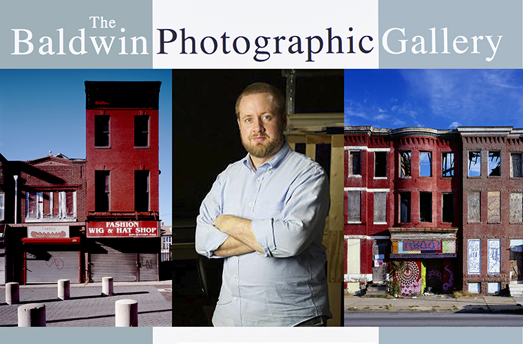 promo for MTSU's Baldwin Photo Gallery Sept. 16-Oct. 28 exhibit featuring Baltimore-based photographer and archivist James Singewald, center, who is shown with two of his images from the