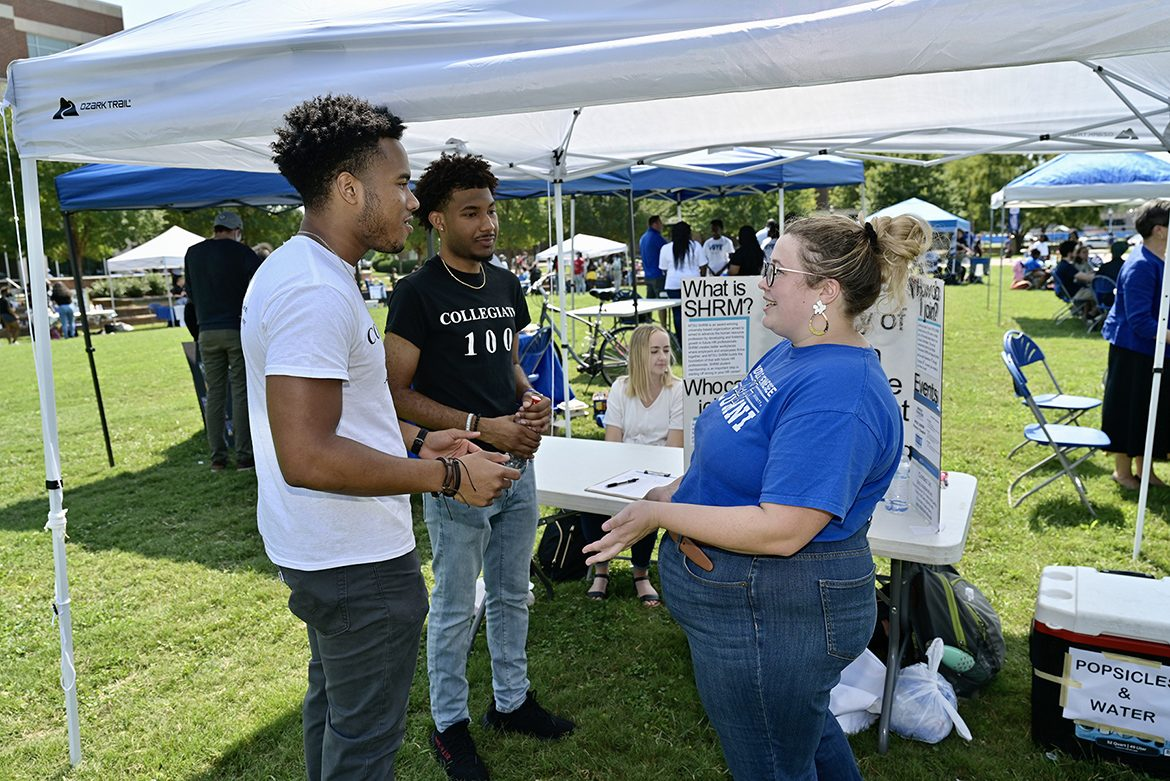 The Society of Human Resource Management student chapter was among the student groups participating in the Sept. 8, 2021, Student Organization Fair held on the Student Union Commons. (MTSU photo by Andy Heidt)