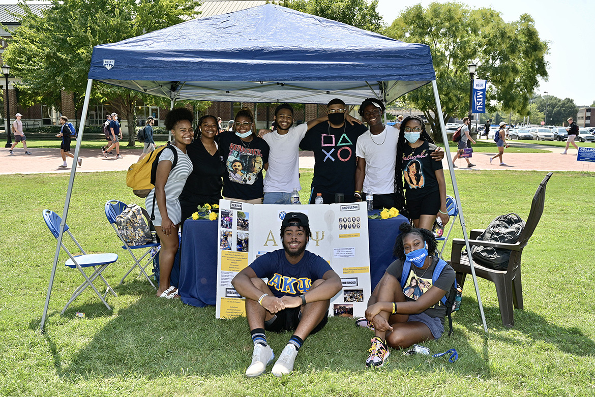 Alpha Kappa Psi Professional Business Fraternity was among the student groups participating in the Sept. 8, 2021, Student Organization Fair held on the Student Union Commons. (MTSU photo by Andy Heidt)