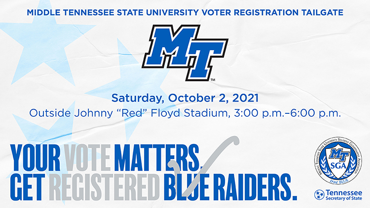 MTSU Voter Registration Tailgate message (Image submitted)