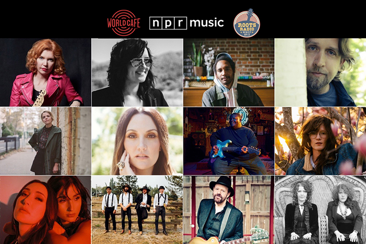"""The 2021 AmericanaFest daytime lineup includes, top row, from left, Sue Foley, Brandy Clark, Tré Burt, Hayes Carll; second row, from left, Aoife O'Donovan, Natalie Hemby, Christone """"Kingfish"""" Ingram, SG Goodman; and third row, from left, Jade Jackson and Aubrey Sellers, The Dead South, Colin Linden, and The Whitmore Sisters. (Collage courtesy of WMOT-FM Roots Radio)"""
