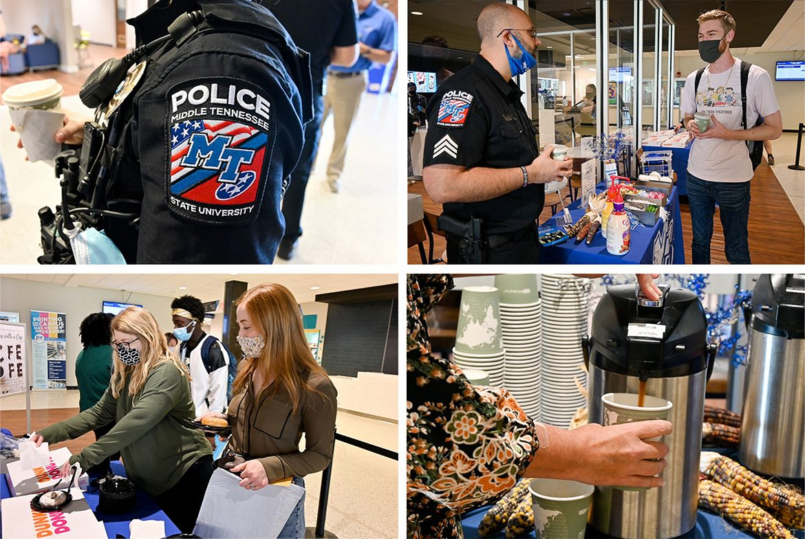 Middle Tennessee State University Police shared complimentary coffee, donuts and conversation with the MTSU community at the Coffee with a Cop event hosted at the Keathley University Center on campus on Sept. 29, 2021. (MTSU photos by Stephanie Barrette)