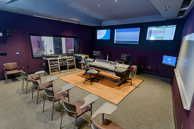 he combination control room and working classroom of the Department of Recording Industry's new Studio E at Middle Tennessee State University, with the recording studio visible through the window, is a mirror image of the adjoining Studio D in the East Main Building on campus. The department relocated and customized two expandable recording facilities for students in a nearly $2 million studio project, which covers almost 5,000 square feet of recording space, control rooms, equipment rooms and an open gathering/reception area. (MTSU photo by J. Intintoli)