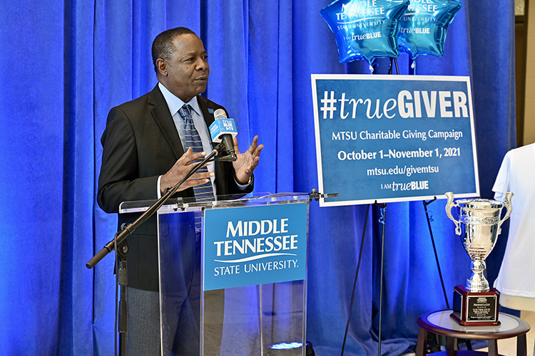 MTSU President Sidney A. McPhee announces a $140,000 goal for the 2021-22 MTSU Employee Charitable Giving Campaign during the Sept. 27 kickoff ceremony held in the atrium of the Cope Administration Building. (MTSU photo by Andy Heidt)