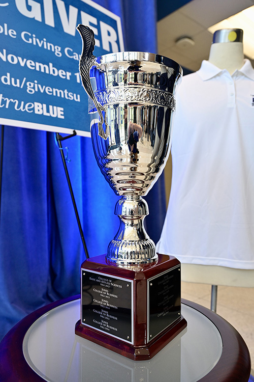 The Provost Cup, shown here, involves a friendly competition between academic units that is awarded to the college with the highest percentage of employee participation. The Jones College of Business has won the cup for eight straight years. (MTSU photo by Andy Heidt)