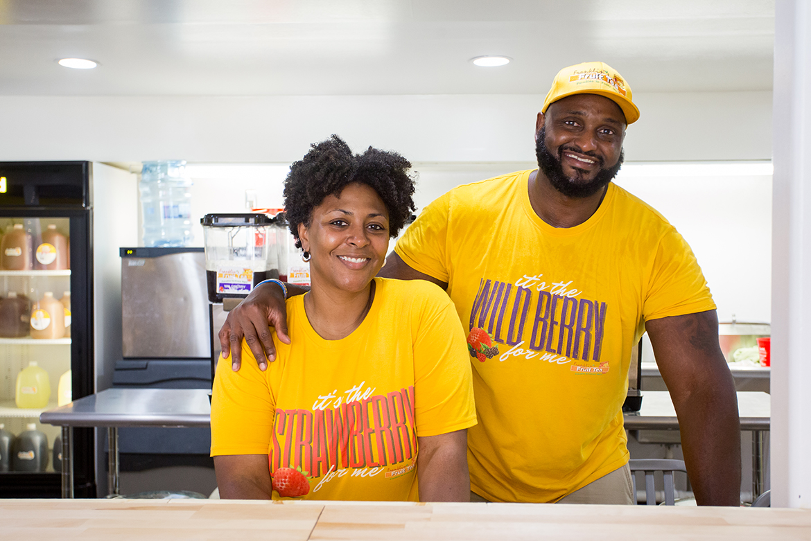 Middle Tennessee State University alumnus and former Blue Raider football player Germayle Franklin, right, and his wife, Mylikia, own and operate Franklin's Fruit Tea in Murfreesboro and now offer their product at Dwight's Mini Mart in Keathley University Center. (Submitted photo)