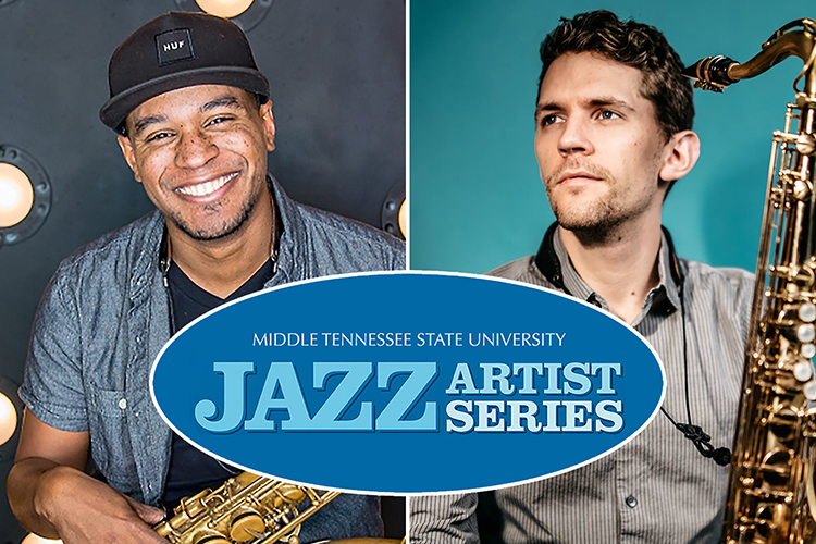 MTSU School of Music alumni and Nashville musician-educators Jovan Quallo, left, and David Williford will return to campus Wednesday, Oct. 13, for a concert with a quintet of current students to launch this year's MTSU Jazz Artist Series. (photo submitted and courtesy of Kira Hooks Photography, respectively)