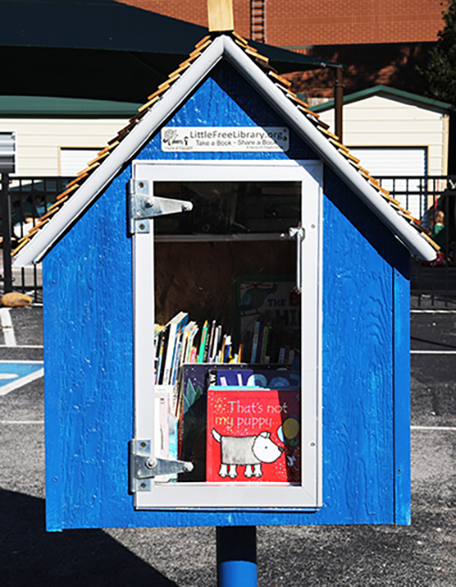 2) The first Little Free Library created by MTSU honor societies Phi Kappa Phi and Omicron Delta Kappa is in place at the Ann Campbell Early Learning Center at 206 N. Baird Lane. (MTSU photo by Marsha Powers)