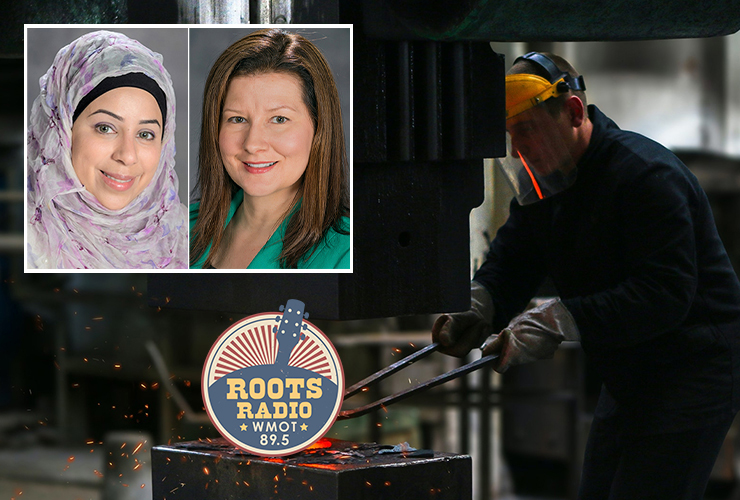 """Sam Zaza, Ph.D., top left, an assistant professor of information systems and analytics, and Kristie Abston, Ph.D., an associate professor of management, will appear from 9:30 to 10 p.m. Tuesday, Oct. 5, and from 6 to 6:30 a.m. Sunday, Oct. 10, on the """"MTSU On the Record"""" radio program on WMOT-FM Roots Radio 89.5. (MTSU faculty photos; manufacturing photo by Kateryna Babaieva from Pexels)"""